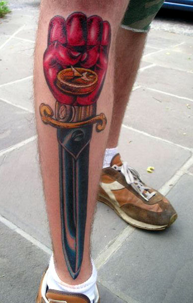 Greg's gonzo tattoo was done by by Dylan Schreifels of Cliffs Tattoo in